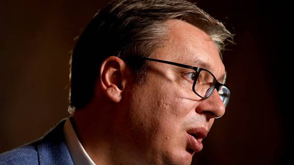 Serbian President Aleksandar Vucic speaks with Reuters in Belgrade