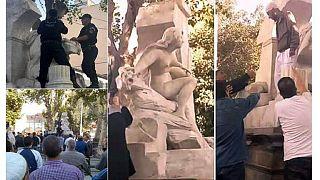 """شاهد ما حل بتمثال """"المرأة نصف العارية"""" في الجزائر"""