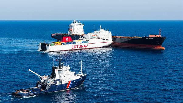 Two ships collided near the French island of Corsica on Sunday.