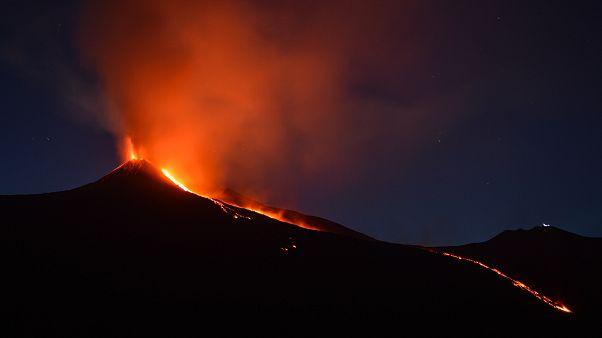 Erupción del volcán Etna el 27 de agosto de 2018.