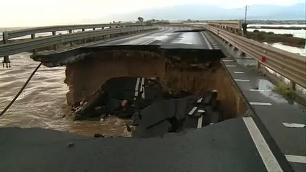 Flooding in Sardinia causes bridge collapse
