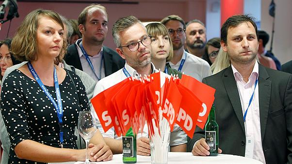 Supporters of the SPD in Munich, Germany, October 14, 2018