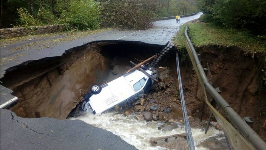 Watch: Road collapses due to French floods