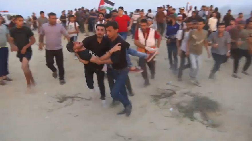 Des manifestations sur une plage à Gaza ont fait 32 blessés