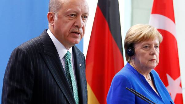 Erdogan on a recent visit to Germany, one of Turkey's top trade partners