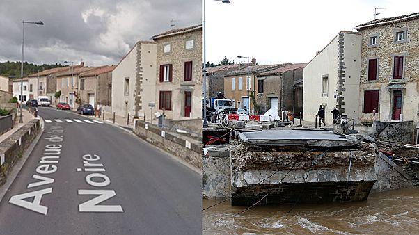Antes - después: las imágenes de las inundaciones en Francia