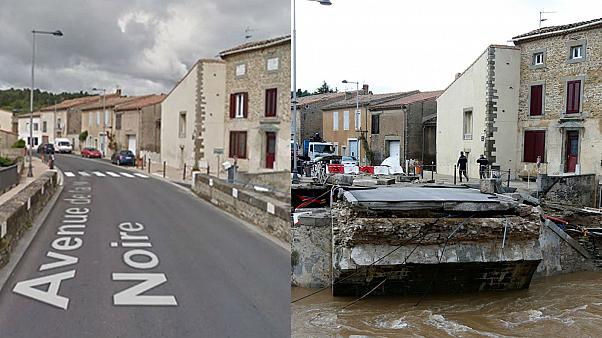 Before and after pictures show the shocking impact of France's floods