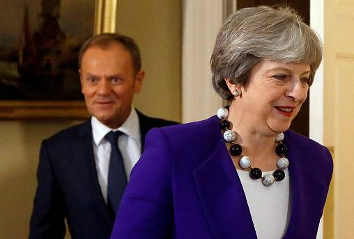 European Council President Donald Tusk and UK Prime Minister Theresa May