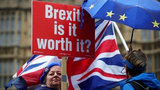 Anti-Brexit protesters hold placards opposite Houses of Parliament.