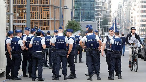 Police officers are seen outside the EU Council ahead of the European Union