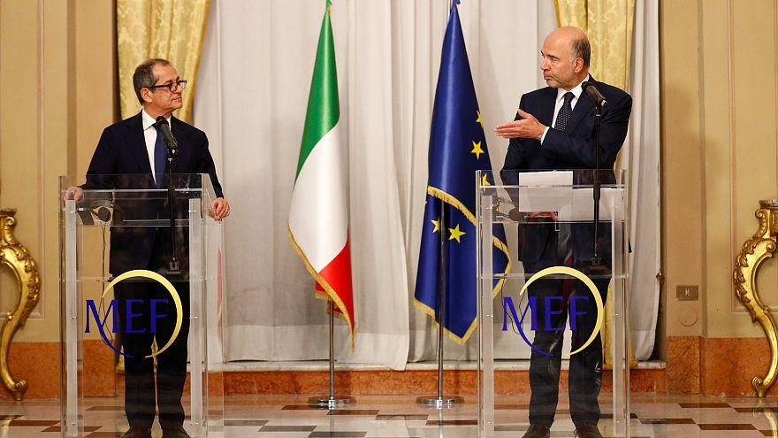 El ministro de Economía italiano y el comisario de Economía de la UE, Roma.