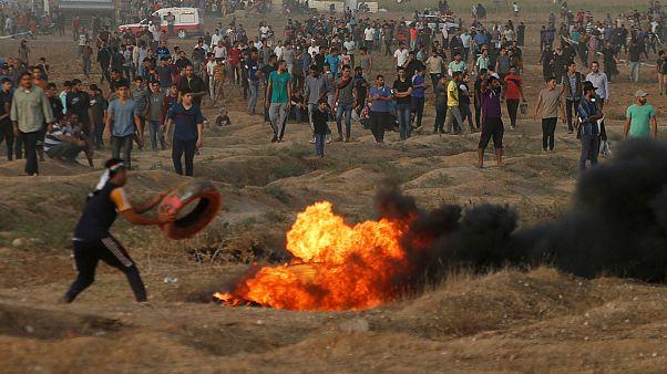 تظاهرات فلسطینیان در مرز نوار غزه با اسرائیل