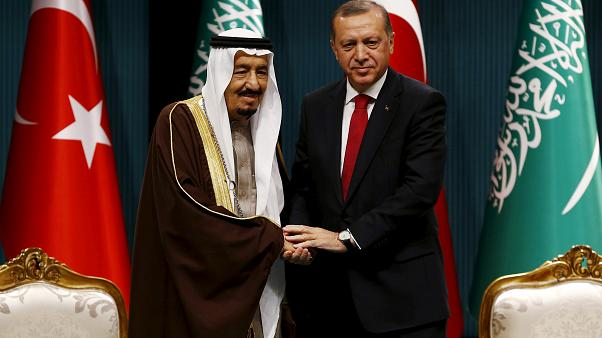FILE PHOTO: Turkey's President Tayyip Erdogan and Saudi King Salman