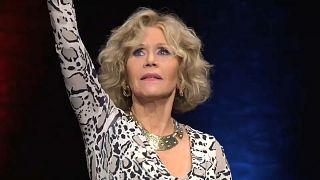 Jane Fonda no festival de cinema Lumière, em Lyon