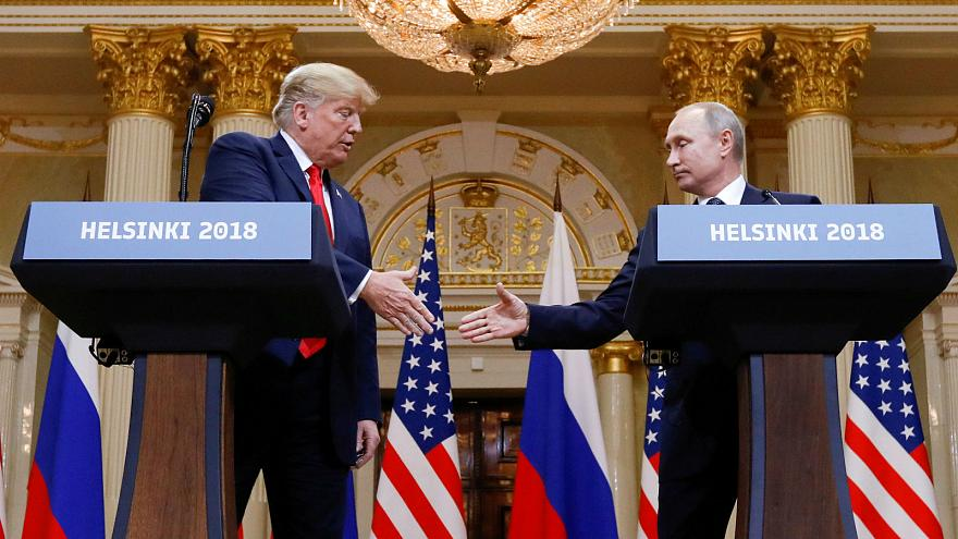 Donald Trump and Vladimir Putin in Helsinki, Finland, July 16, 2018