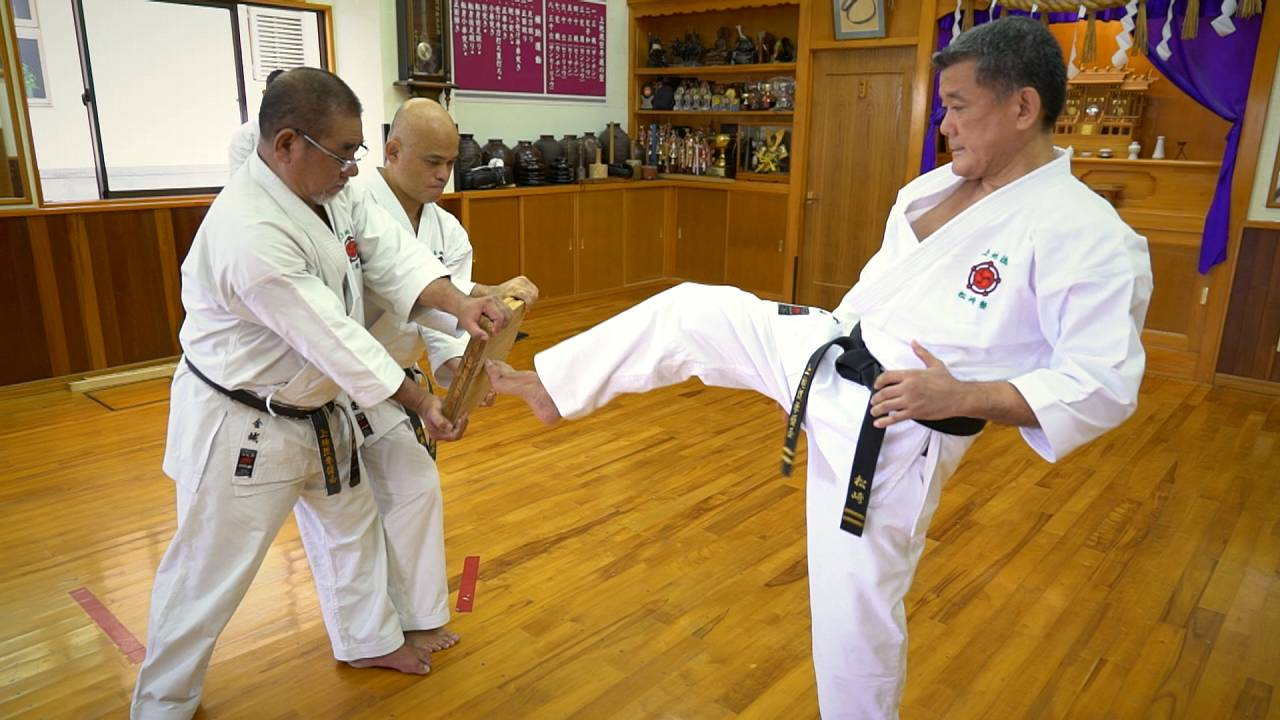A karate teacher teaching karate