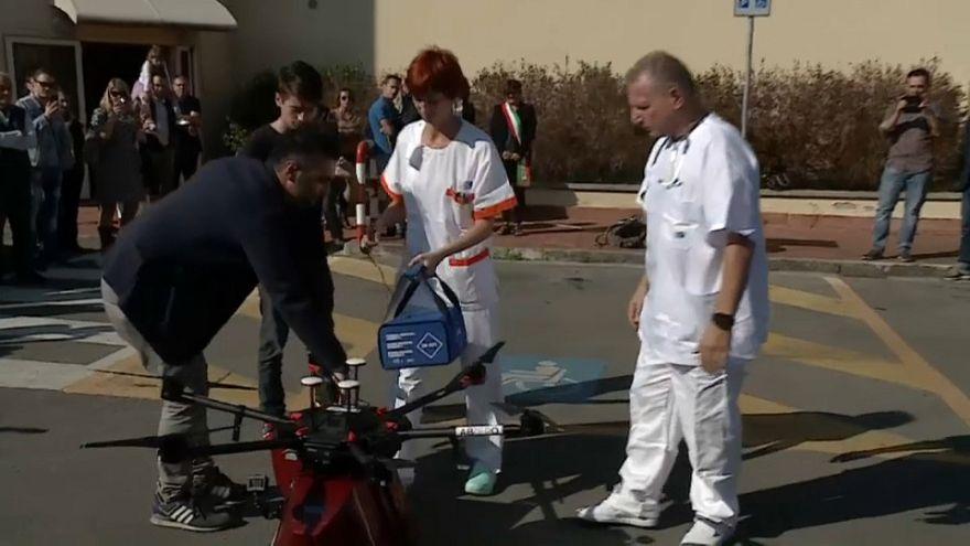 A Pontedera la prima consegna di sangue via drone