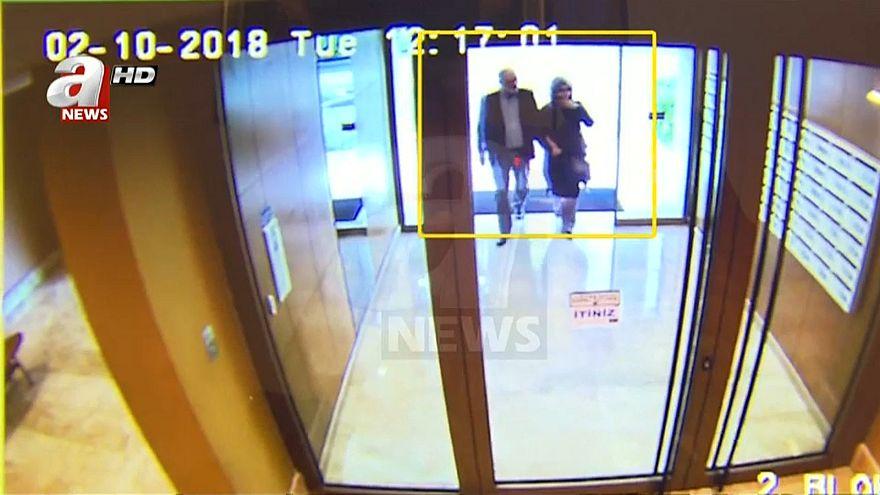 شاهد: لقطات جديدة لخاشقجي وخطيبته يغادران بنايتهما إلى القنصلية السعودية