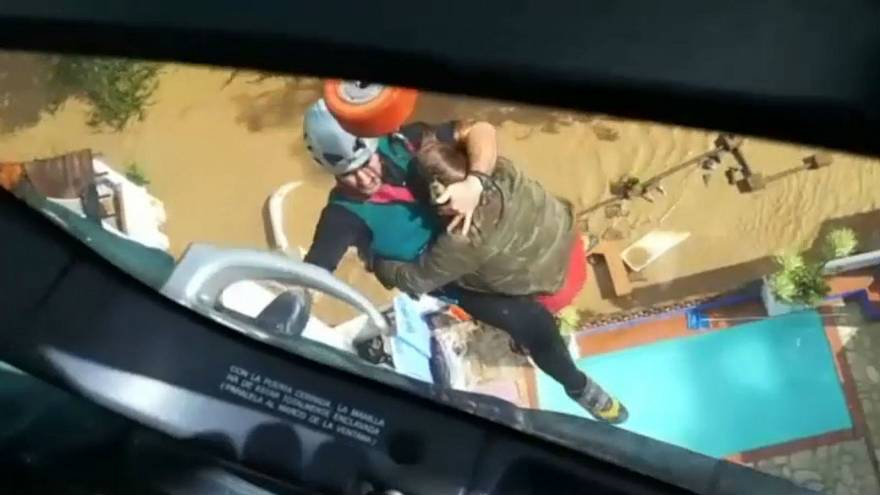 Watch: Stranded residents airlifted to safety after Malaga flash floods