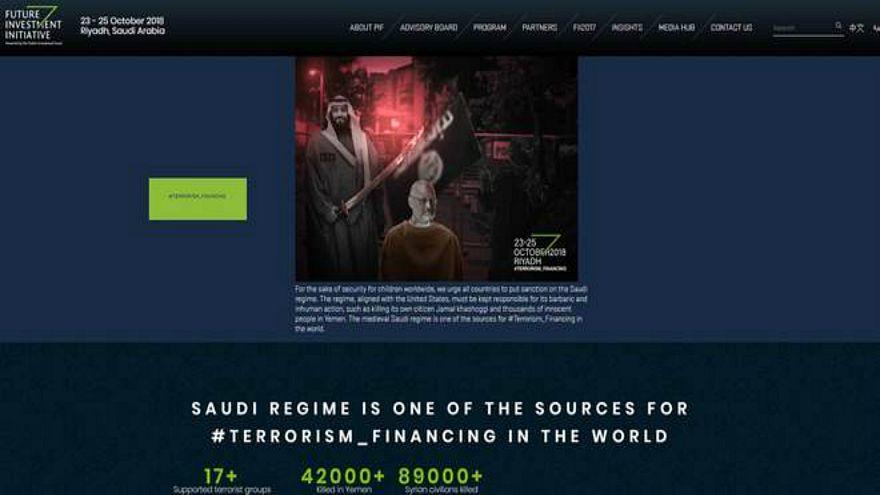 """هاكرز يضعون صورة خاشقجي ومحمد بن سلمان على موقع """"مؤتمر الاستثمار السعودي"""""""