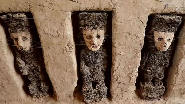 Human-like statues dating back to year 1,100 unearthed in Peru