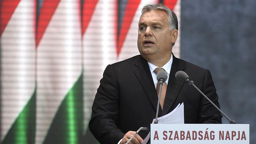 Orbán Viktor beszédet mond 2018. október 23-án