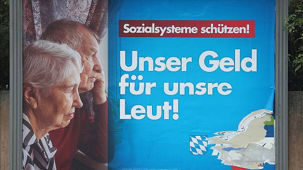 An election campaign poster of the far right political party AfD in Munich
