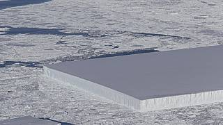 NASA's photo of a tabular iceberg in the Antarctic
