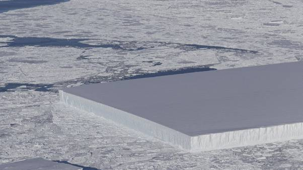 NASA's photo of a tabular iceberg in the Antarctic