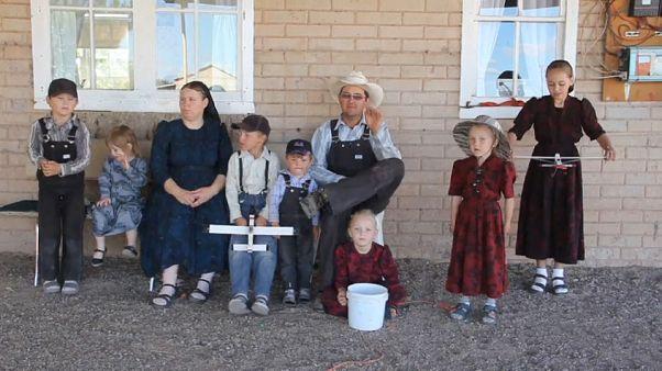 Eine Mennoniten-Familie in Sabinal, einem Dorf in Nordmexiko