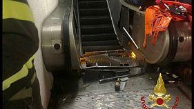 شاهد: سلم كهربائي يخرج عن السيطرة في محطة مترو في روما مسبباً إصابات