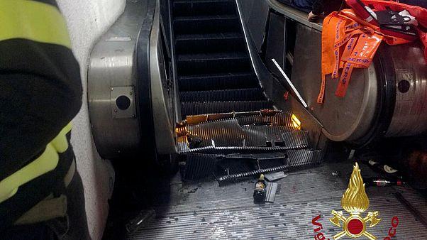 Фанаты обрушили эскалатор в римском метро