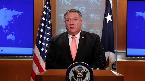 US Secretary of State Mike Pompeo speaks to reporters during a news brief
