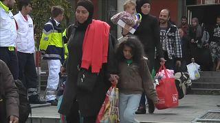 Ankommende muslimische Flüchtlingsfamilien