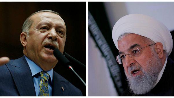الرئيسان التركي رجب طيب أردوغان والإيراني حسن روحاني
