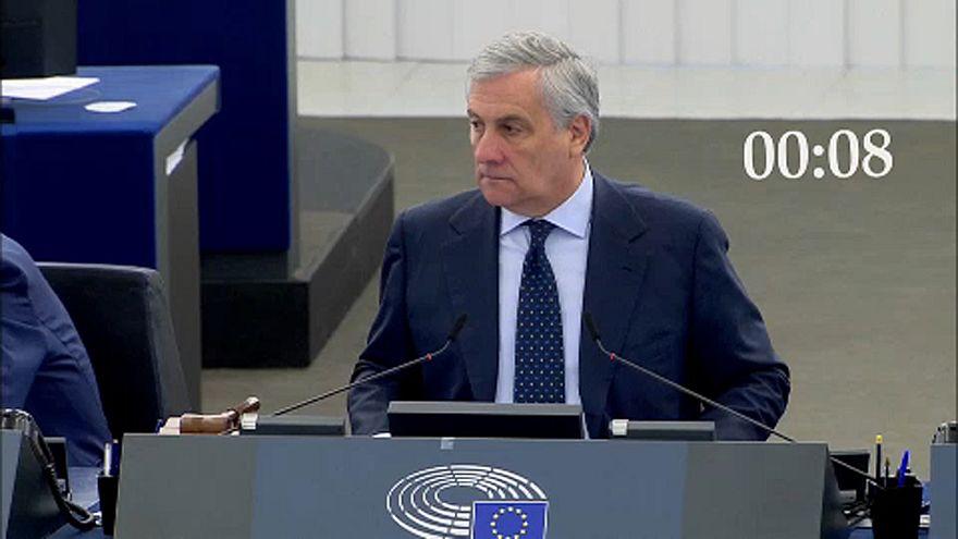Antonio Tajani stares down Nigel Farage