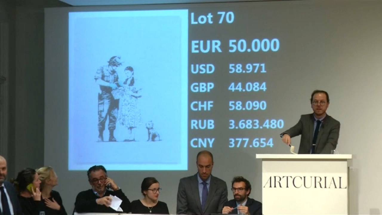 Paris: More Banksy artwork sold higher than estimated prices