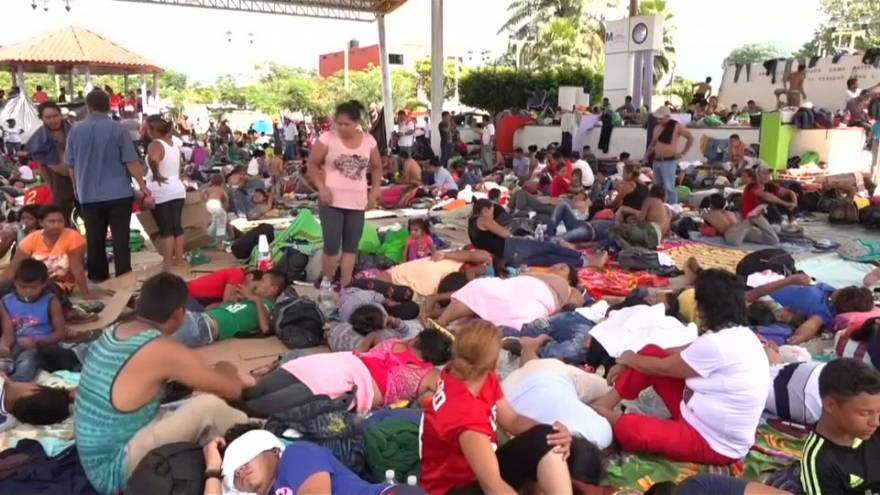 Migrants find a brief moment of rest in Mexican town