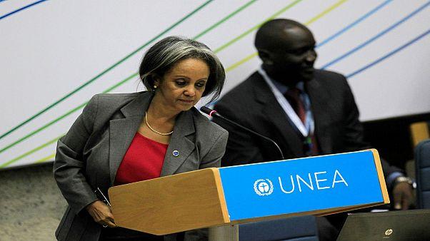 صورة للدبلوماسية البارزة سهلى ورق زودي رئيسة إثيوبيا الجديدة في نيروبي.