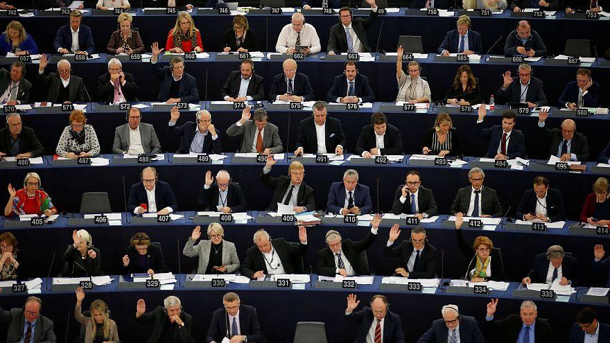 Los eurodiputados en una sesión de votación en el Parlamento Europeo.