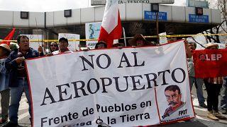 Protesta contra el nuevo aeropuerto internacional de México DF en Texcoco