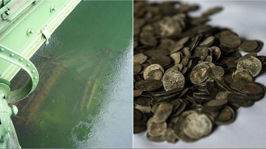 کشف ۲۰۰۰ سکه از کشتی غرق شده بدنبال کاهش بیسابقه سطح آب دانوب