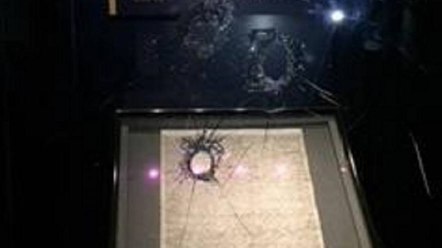 The shattered glass box of the Magna Carta after a man tried to steal it