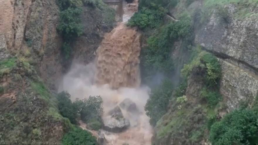 River in Spain's Malaga province swells after heavy rains