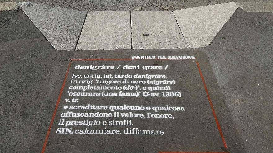 Italy graffiti campaign seeks to save lesser-used words from extinction