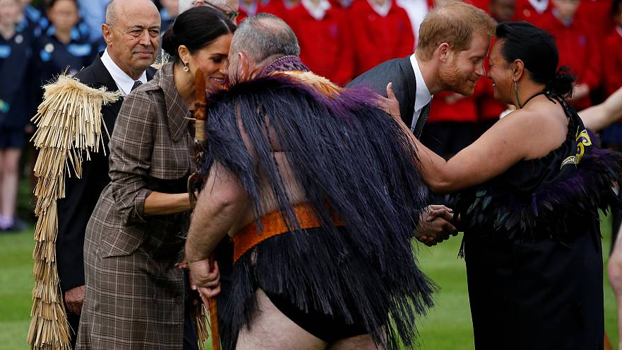 Watch: Harry and Meghan rub noses in traditional Maori greeting