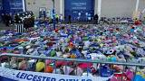 Tributes are left outside Leicester City FC's King Power stadium