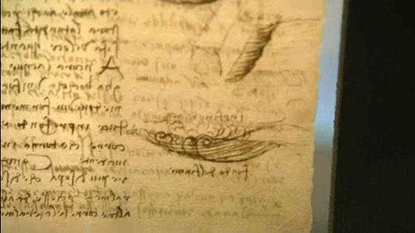 Leonardo lapokra szedett füzete az Uffiziben