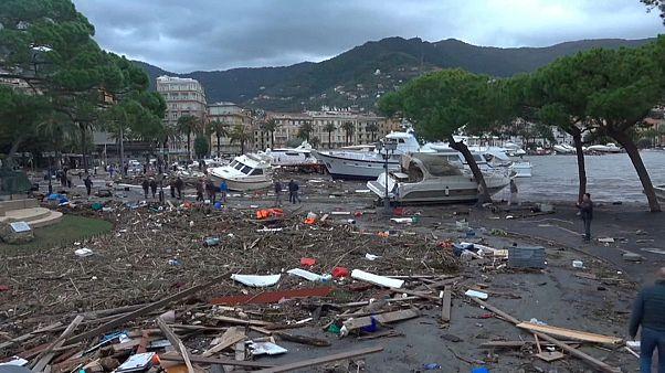 Puertos destruidos y ciudades inundadas por el temporal en Italia