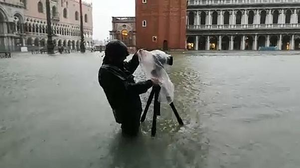 Saint Mark's Square Underwater After Flooding in Venice